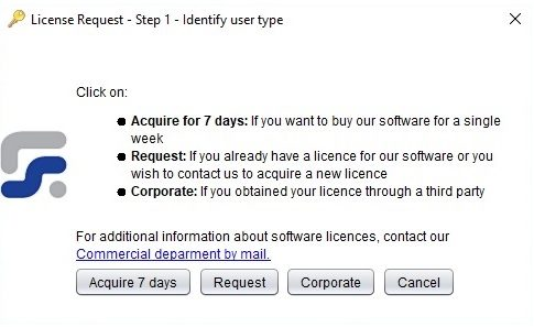Reporting Standard XBRL tools license request process - First step - Select any of the available options